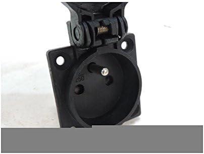 Prise socle 2P+T 16A 250V domestique noire NF encastr/ée 50x50mm connexion arri/ère clapet IP54 SCHNEIDER PKN51N