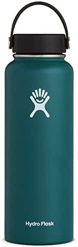 Hydro Flask Water Bottle - Stainless Steel & Vacuum Insulated - Wide Mouth with Leak Proof Flex Cap - 40 oz, Jade