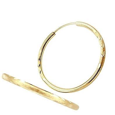 Amazon Com 14k Yellow Gold Hoop Earrings Leaf Engraved Brushed