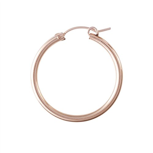 Designs by Nathan Classic 14K Rose Gold Filled Tube Hoop Earrings with Latch Closures (Regular 2mm x (14k Gold Overlay Hoop Earrings)