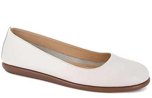 Ballet White Footwear (Joan Vass Patricia Womens Nappa Leather Ballet Flat Shoes Off White 37/6.5-7)