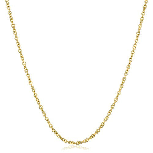 Kooljewelry 14k Yellow Gold 1mm Adjustable Length Cable Chain Necklace (up to 22