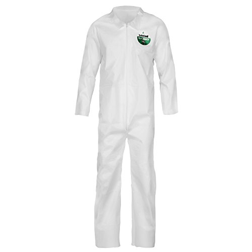 Lakeland MicroMax NS Microporous General Purpose Coverall, Elastic Cuff, Large, White (Case of 25) by Lakeland Industries Inc