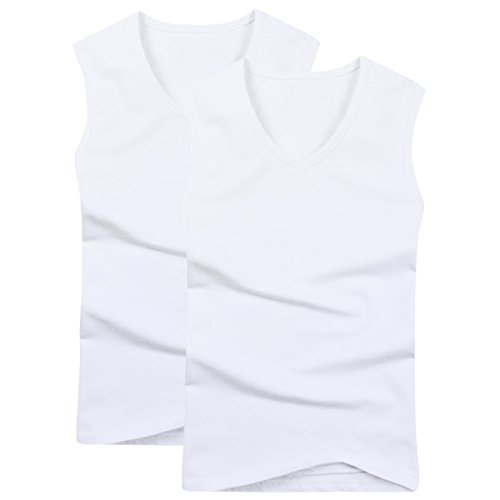 Pishon Men's Sleeveless Tee Shirts Cotton Casual Fitted Muscle Tee Blank T-Shirt, V Neck Pack2, US Size Large (Tag size XXL)