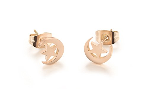 CC Kimico Stainless Steel Rose Gold Plated Cute Star Moon Stud Earrings