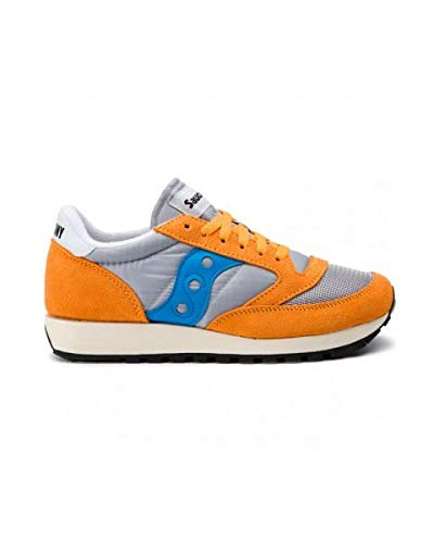 - Saucony Mens Jazz Original Vintage Suede Mesh Orange Grey Blue Trainers 9.5 US