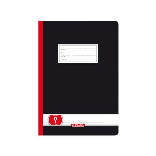 Herlitz 326090 Schulheft A5, kariert mit Rand, Lineatur 9, 20 Blatt, 10er Packung, Farbe schwarz