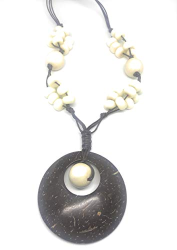 Unizoco Natural Tagua Nut Jewelry | Beach Summer Adjustable Chunky Statement Oval Necklace for Women Girls, Earrings Set | Eco Friendly and Sustainable Handmade from Ecuador (White Coconut)