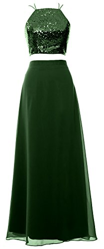 MACloth Women 2 Piece Long Bridesmaid Dress Sequin Prom Homecoming Formal Gown Verde Oscuro