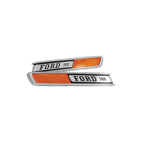 Ford Nameplate (MACs Auto Parts 48-42302 Ford Pickup Truck Hood Side Nameplates - FORD 100 - With Reflector)