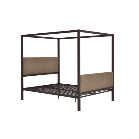 Versatile Contemporary Design Queen Durable Canopy Bed, Metal Slats Provide the Right Amount of Support, Better Air Flow Circulation, Sturdy Steel Construction, Multiple Colors + Expert Guide (Size Oak Poster King Bed)