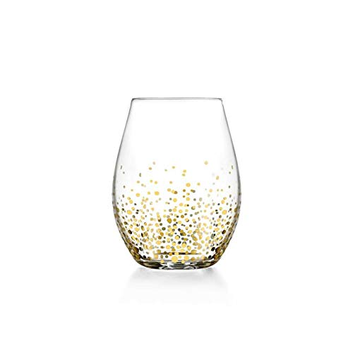Contemporary And Elegant Luster Stemless Wine Glasses in Gold Set of 4