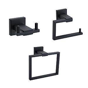 Turs 3-Piece Bathroom Accessory Set SUS 304 Stainless Steel RUSTPROOF Toilet Paper Holder Towel Bar/Holder Robe Hook…