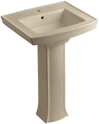 Mexican Pedestal (KOHLER K-2359-1-33 Archer Pedestal Bathroom Sink with Single-Hole Faucet Drilling, Mexican Sand)