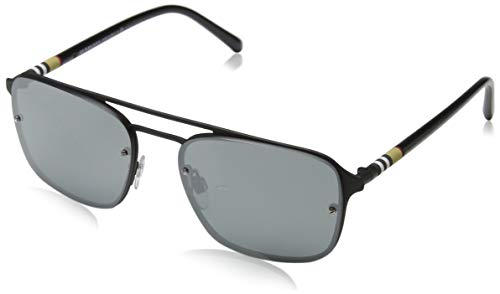 - Burberry Men's BE3095 Sunglasses Black Rubber/Grey Mirror Silver 56mm