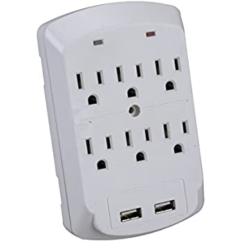Amazon Com Masterplug 2 Usb Port 6 Outlet Surge