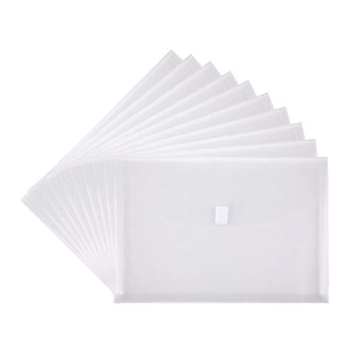 FJCA Plastic Folders Legal Envelope with Hook and Loop Closure 14x10 Side Load Office Transparent Pack of 10