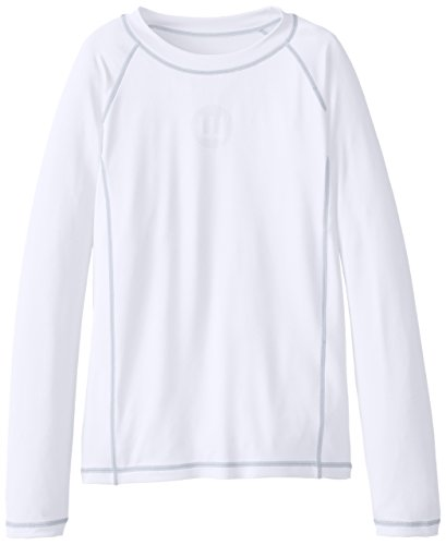Wes & Willy Big Boys' Long Sleeve Sun Safe Rash Guard, White, ()