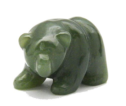Fundamental Rockhound Products: Carved Bear Green Nephrite Jade Hand Carved Gemstone Crystal with Information Card