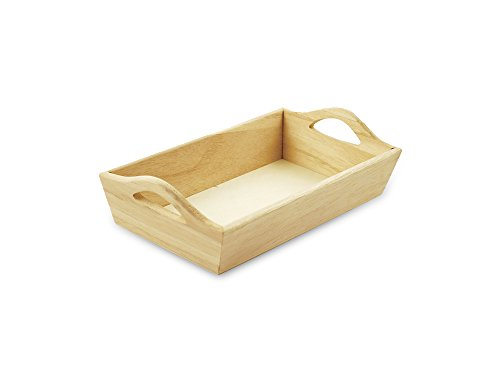Multicraft Imports Paintable Wooden Tray with Handles, 8-1/8 by 4-5/8 by 2-1/8-Inch