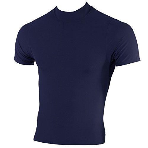 McDavid Classic Logo 793 CL Mock Neck Body Shirt Short Sleeves Navy X-Large