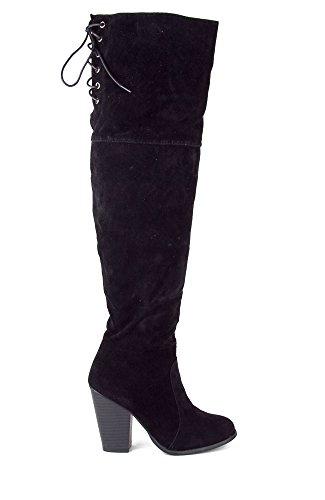 Chase Och Chloe Max-2 Kvinnor Över Knäet Låret Höga Mocka Chunky Klack Boot - Svart Mocka