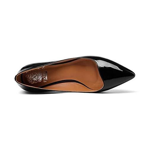 Nappa Comfort Spring de Zapatos ZHZNVX Black Black Mujer Leather Stiletto Heels Heel Yellow wZtqxY
