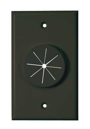 (Single Gang Wireport Cable Pass Through Wall Plate with Grommet - Black )