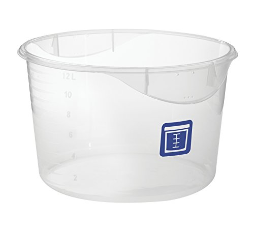 Rubbermaid Commercial Products 1981134 Round Plastic Food Storage Container, Blue Label, 12 Quart, ()