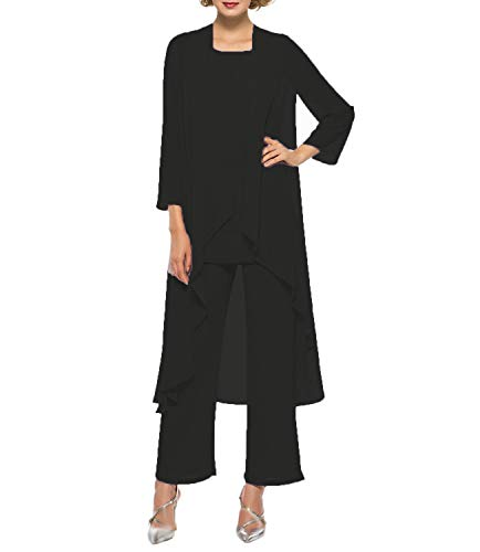 Women's Chiffon Pant Suits Mother of The Bride 3 Pieces Long Jacket Dress Party Outfits Black (Beaded 3 Piece Pant)