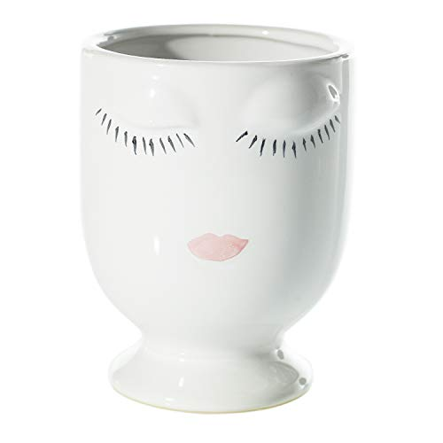 AC Decor White Ceramic Planter with Painted Face, 5