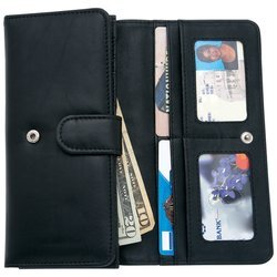 New Embassy Ladies Solid Genuine Leather Wallet Multiple Slots Snap Closure Interior (Embassy Solid Leather Purse)
