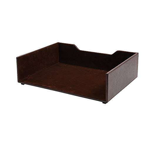 Staples 2735097 Stackable Letter Tray Faux Leather Brown