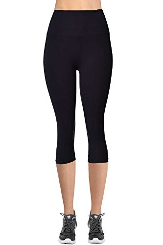 VIV Collection Signature Capri Leggings Soft and No Pocket (L, Black)