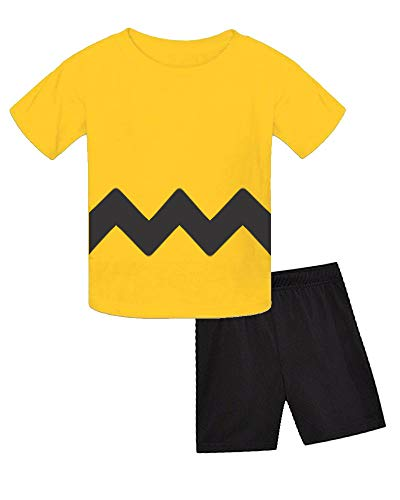 Charlie Brown Baby Halloween Costume - Yellow Zig Zag T-Shirt (3-6m, Yellow)]()