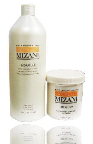 Mizani Hydrafuse Intensive Moisturizing Treatment 33.8oz + Kerafuse Intensive Protein Treatment 15oz (Hair Moisturizing Protein)