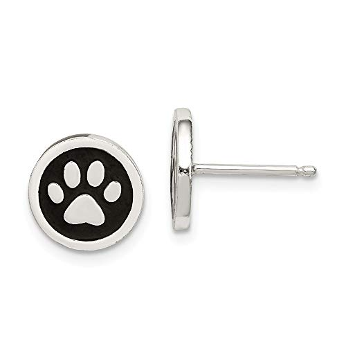- 925 Sterling Silver Enamel Paw Print Post Stud Earrings Ball Button Animal Cat Dog Fine Jewelry Gifts For Women For Her