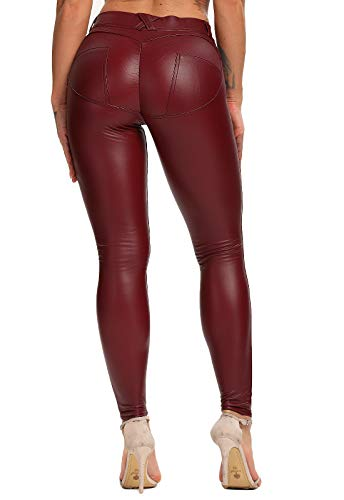 FITTOO PU Leggings Cuero Imitacion Pantalon Elasticos Cintura Alta Push Up para Mujer #1 Bolsillo Falso Poca Terciopelo Rojo M