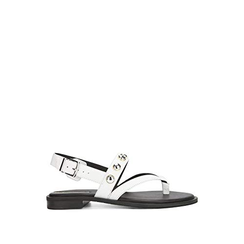 - Kenneth Cole New York Women's Tama Stud Flat Thong Sandal with Backstrap, White 8.5 M US