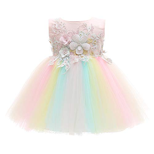 Xangirl Baby Girls Costume Cosplay Dress Rainbow Tulle 3D Embroidery Beading Princess Tutu Dresses for Girl -