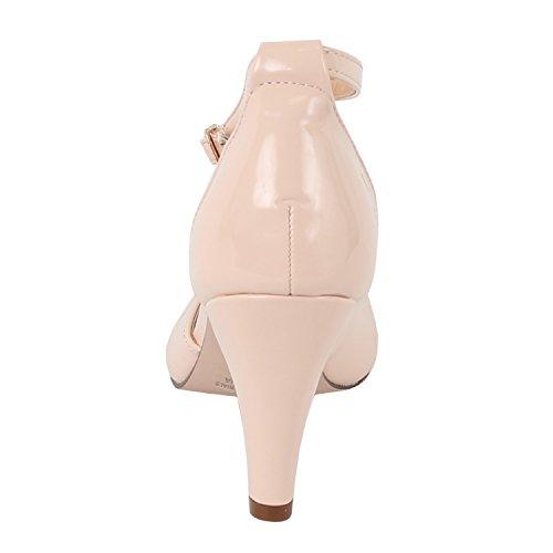 Chase & Chloe Kimmy-36 Damen Teardrop Ausgeschnittene T-Strap Mid Heel Pumps Nacktes Patent