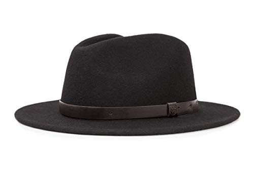 Brixton Men's Messer Medium Brim Felt Fedora Hat, black, Small (Real Fedora)