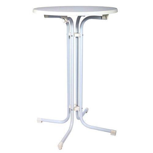 STEHTISCH BELLINI Ø 80 - klappbarer Bistro-Tisch 110 hoch - weiß - verstellbarer Fuß zum Ausgleich von Unebenheiten