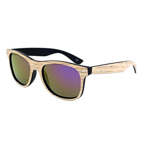 Cadre soleil Anti lunettes Colored Violet de UV Bois Eyewear Veneer de Des Lentilles Real protection Mirror Lunettes Meijunter pwH14gCqW