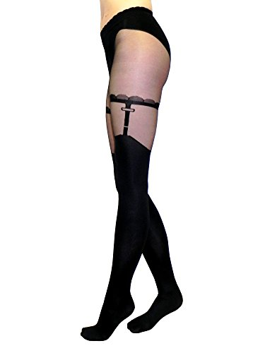 Sexy Opaque Black Tights with Silky Sheer Top & Faux Garter Pattern, 'Mistero' Style, Size S ()