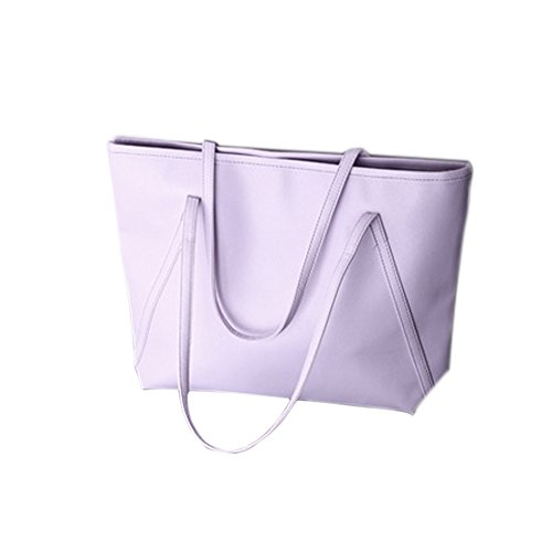 Leather Tote Bag for Women, Large Shoulder Bag Handbag Zipper Women's Work Satchel Bag (Purple) ()