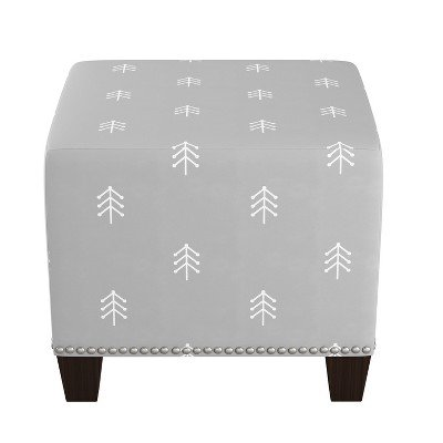 Square Nail Button Ottoman - Line Tree Gray - Skyline Furniture Line Tree Gray