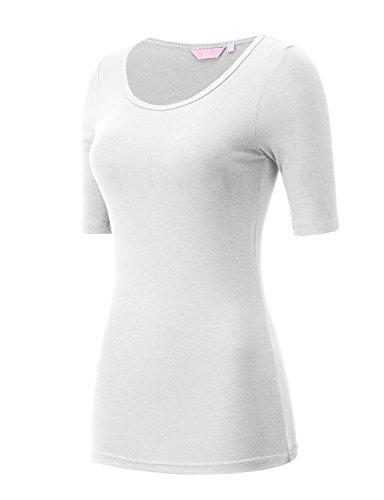Scoop Neck Tee White (REGNA X Love Coated White Boat Neck basic tri-blend cotton sleeveless T-shirt,Scoop_white,XX-Large Plus)