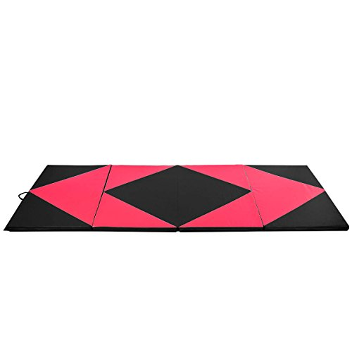 Gymnastics Exercise Mat 4'x10'x2 Pink&BlackThick Folding Panel Aerobics Gym Fitness with Ebook