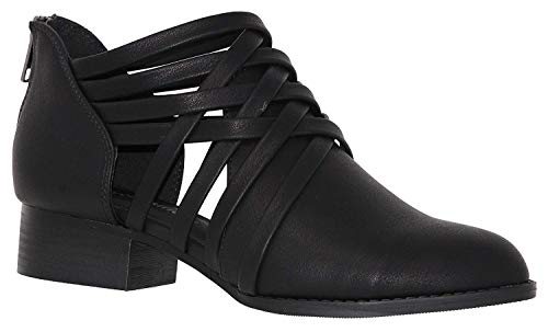 Studio Black Heels Womens Sandals (Women's Ankle Bootie Woven Strappy Weeve Criss Cross with Low Chunky Heel, Black, 6.5)